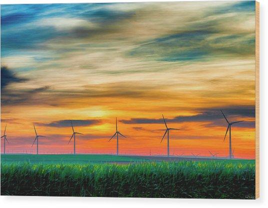 Wind Energy Sunrise Wood Print