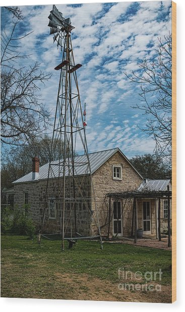 Wind Mill At The Pioneer Museum Wood Print by Elijah Knight