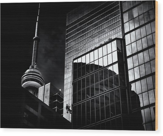 Wood Print featuring the photograph Window Washing No 3 by Brian Carson