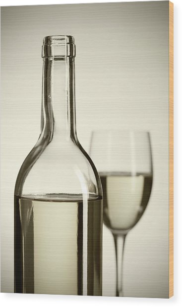 Wine Bottle And Cup Wood Print