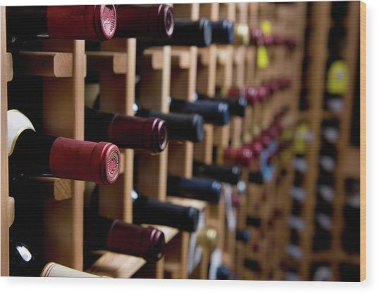 Wine Bottles In Cellar Wood Print