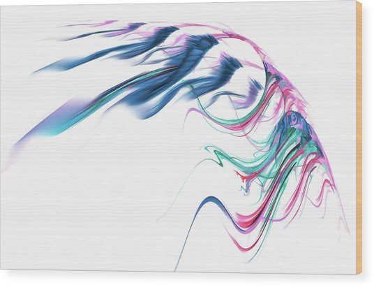 Wing Of Beauty Art Abstract Blue Wood Print
