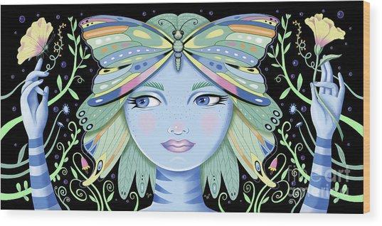 Insect Girl, Winga - Black Wood Print