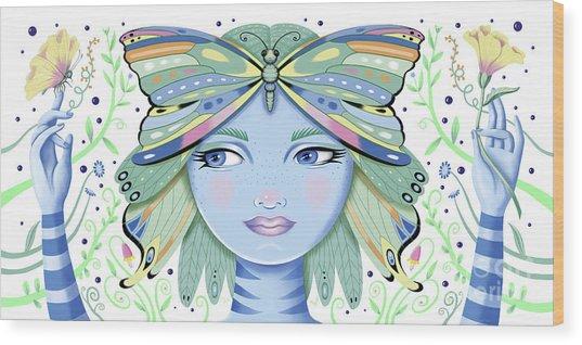 Insect Girl, Winga - White Wood Print