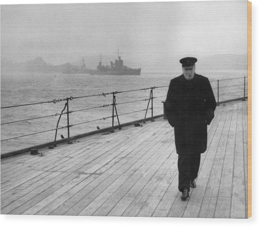 Winston Churchill At Sea Wood Print