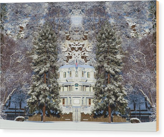Winter At The Susanville Elks Lodge Wood Print