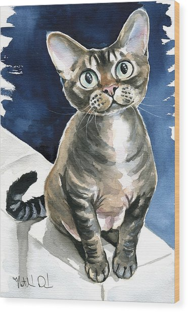 Winter Devon Rex Cat Painting Wood Print