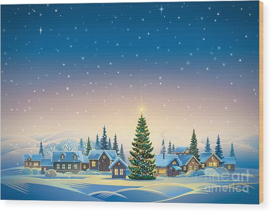 Winter Festive Landscape With Village Wood Print