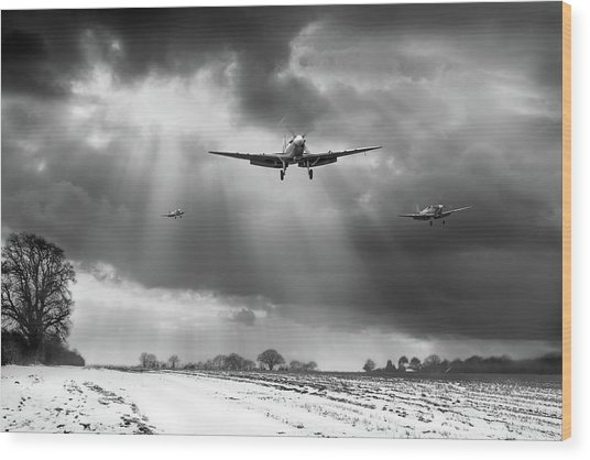 Wood Print featuring the photograph Winter Homecoming Bw Version by Gary Eason