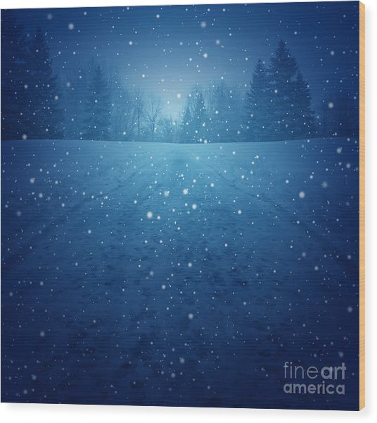Winter Landscape Concept As A Snowing Wood Print by Lightspring