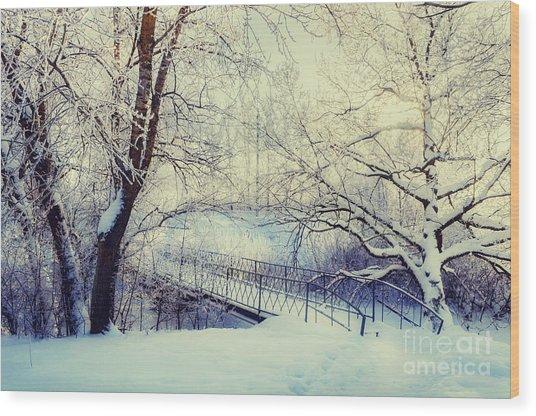 Winter Landscape In Vintage Tones - Wood Print