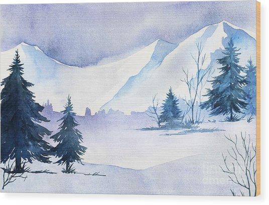Winter Landscape. Watercolor Landscape Wood Print