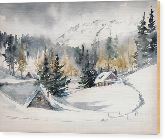 Winter Landscape With Mountain Village Wood Print by Deepgreen