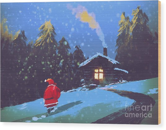 Winter Landscape With Santa Claus And Wood Print