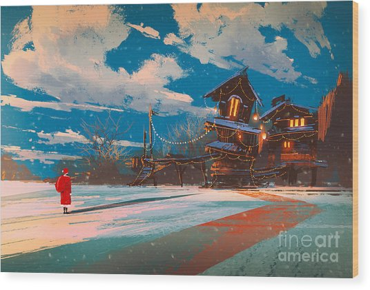Winter Landscape With Wooden House At Wood Print