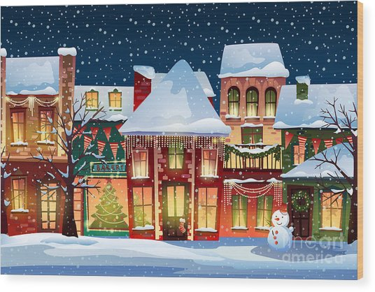 Winter Landscape.christmas Background Wood Print