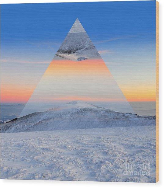 Winter Mountain Landscape At Sunset Wood Print