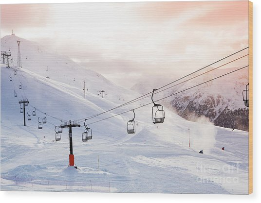 Winter Mountains Panorama With Ski Wood Print
