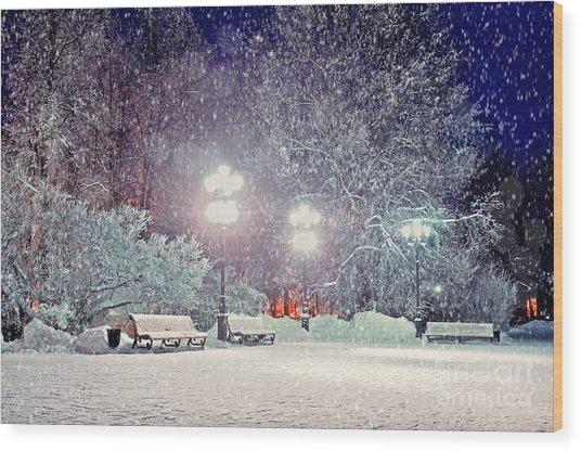 Winter Night Landscape -  Evening In Wood Print by Marina Zezelina