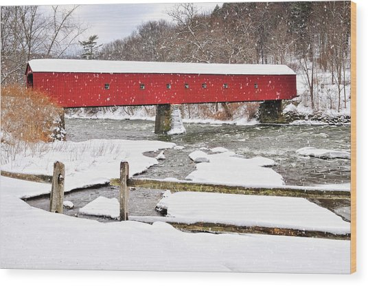 Winter Scene-west Cornwall Covered Bridge Wood Print