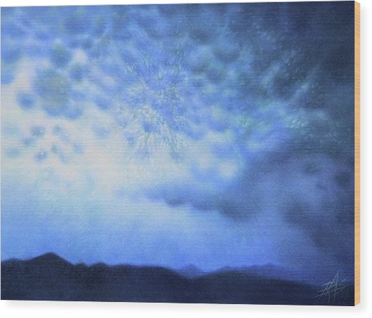 Winter Storm Or Mammatus Clouds Over Black Mountain Wood Print by Robin Street-Morris
