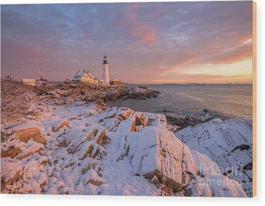 Winter Sunrise At Portland Head Light Wood Print