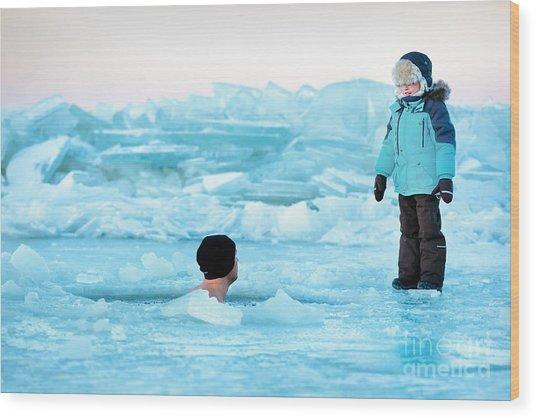 Winter Swimming Wood Print