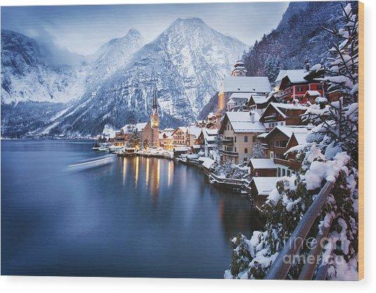 Winter View Of Hallstatt, Traditional Wood Print