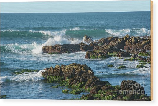 Winter Waves Hit Ancient Rocks No. 1 Wood Print