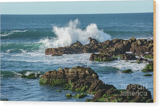Winter Waves Hit Ancient Rocks No. 2 Wood Print
