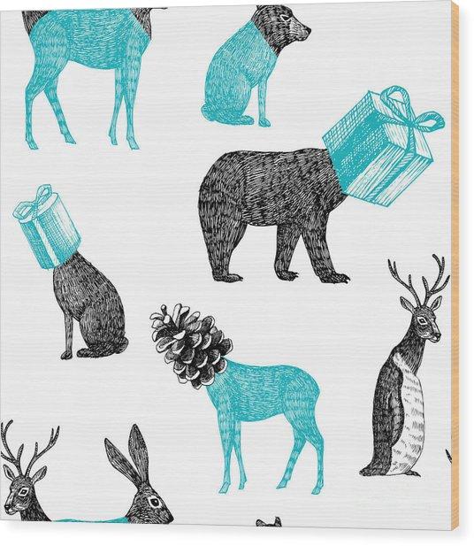Winter Xmas Illustration Of Trendy Hand Wood Print