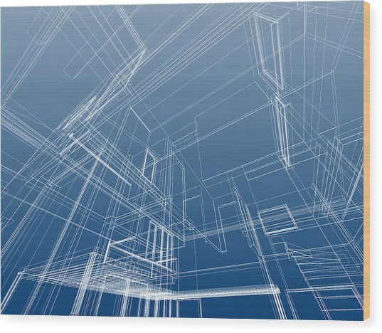 Wire Frame Architectural Background Wood Print