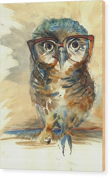 Wise Owl With Big Eyes In Hipster Wood Print