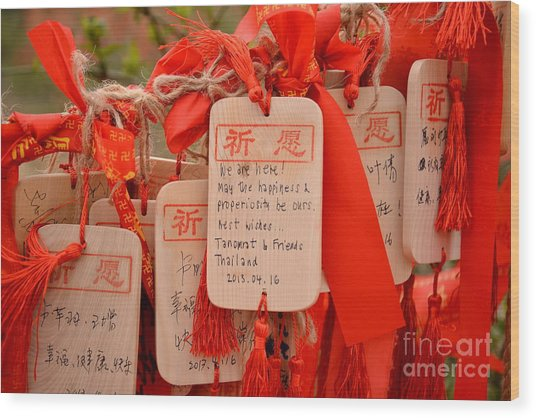 Wish Cards In A Buddhist Temple In Wood Print