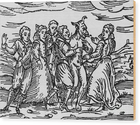 Witches Dancing With The Devil, Illustration From Compendium Maleficarum By Francesco Maria Guazzo Wood Print