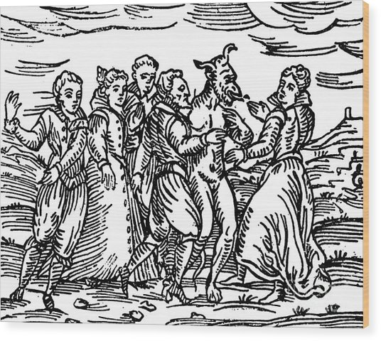 Witches Dancing With The Devil, Illustration From Compendium Maleficarum Wood Print