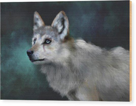 Wood Print featuring the digital art Wolf Art by Angela Murdock
