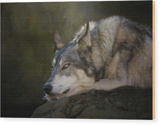 Wolf Watch Wood Print
