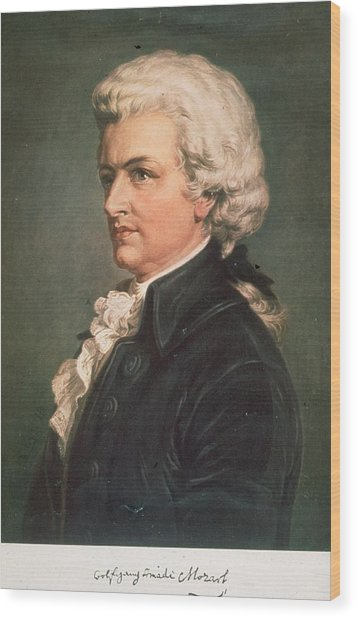 Wolfgang Mozart Wood Print by Hulton Archive