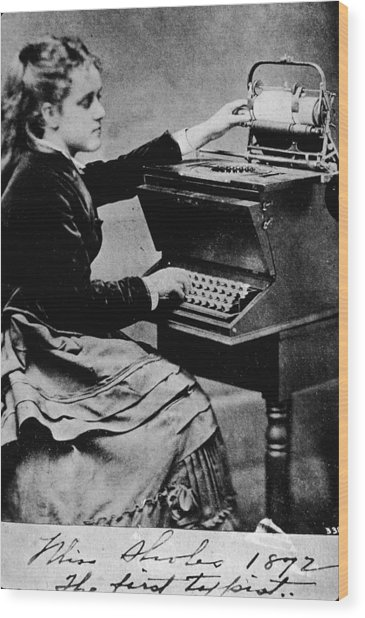 Woman At A Typewriter Wood Print by Hulton Archive