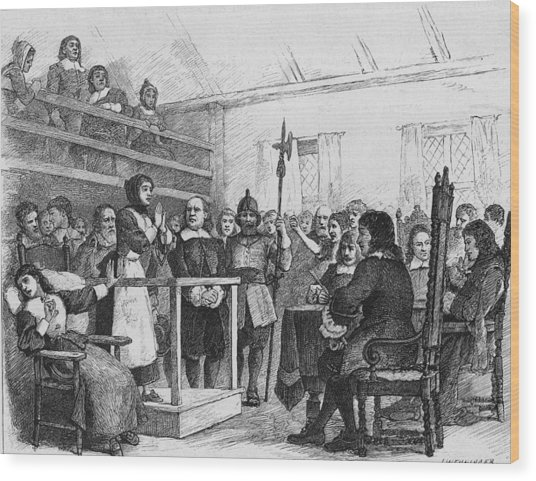 Woman Being Tried For Witchcraft In Wood Print by Kean Collection