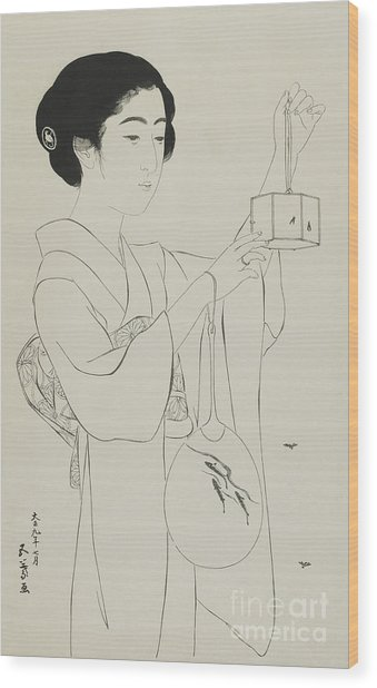 Woman Holding A Firefly Cage, Taisho Era, July 1920 Wood Print
