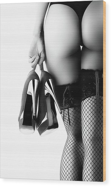 Woman In Lingerie Rear View Wood Print