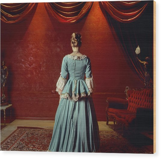 Woman In Period Costume Wood Print