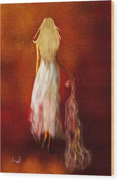 Woman In White Wood Print