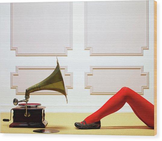 Woman Listening To Music Wood Print