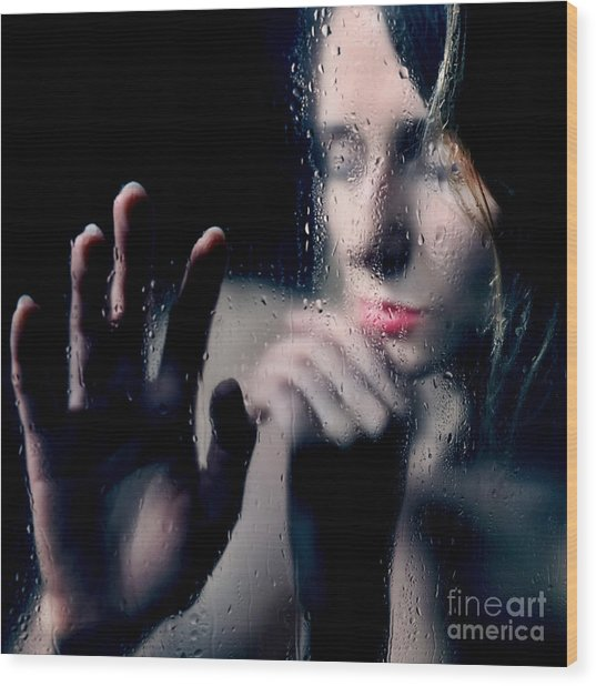 Woman Portrait Behind Glass With Rain Drops Wood Print