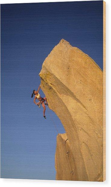 Woman Rock Climber Climbing Cliff Wall Wood Print