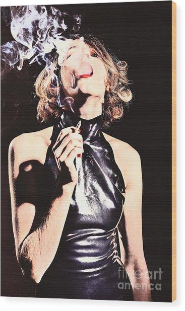 Woman Smoking A Cigarette Wood Print