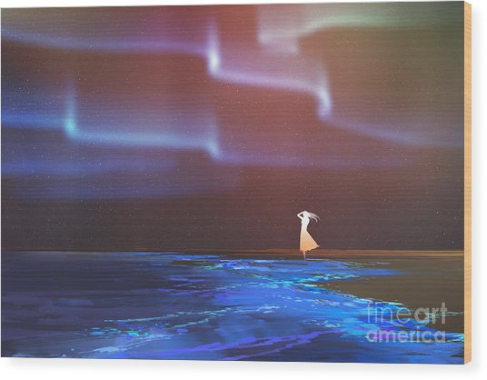 Woman Standing On Beach Glows With Wood Print